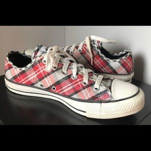 Converse All Star canvas red/black/silver plaid